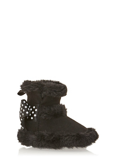 Baby Girl Suede Boots with Polka Dot Bow,BLACK,large
