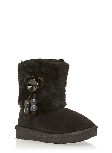 Girls Faux Fur Boots with Beaded Bow,BLACK,large