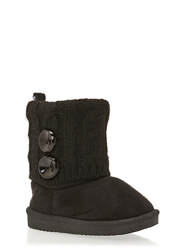 Baby Girl Boots with Sweater Knit Cuff,BLACK,large