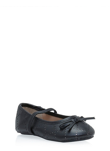 Girls Faux Leather Ballet Flats with Bow Accent,BLACK,large