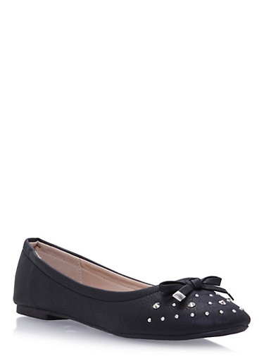 Girls Studded Bow Flats,BLACK,large
