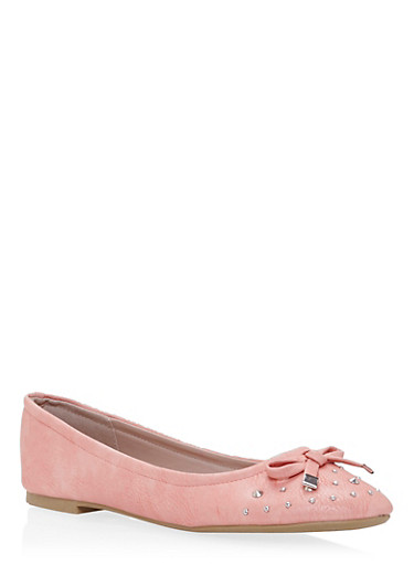 Girls Studded Ballet Flat with Bow,PINK,large