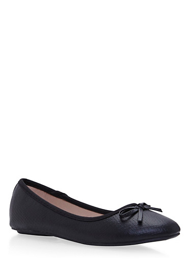 Girls Embossed Faux Leather Flats with Bow Accents,BLACK,large