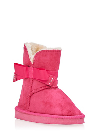 Girls Brushed Suede Boots with Rhinestone Bow,FUCHSIA,large