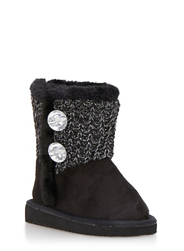 Girls Sweater Knit Boots with Rhinestones,BLACK,large