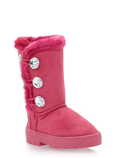 Girls Faux Shearling Lined Boots with Crystal Buttons,FUCHSIA,large