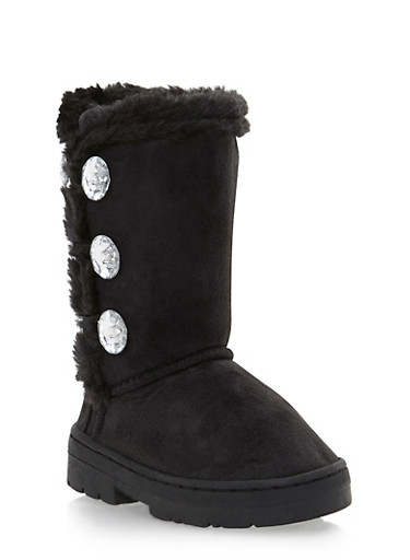 Girls Faux Shearling Lined Boots with Crystal Buttons,BLACK,large