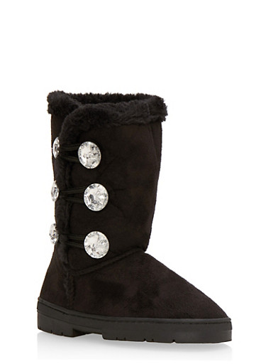 Girls Brushed Suede Boot with Rhinestone Buttons,BLACK,large