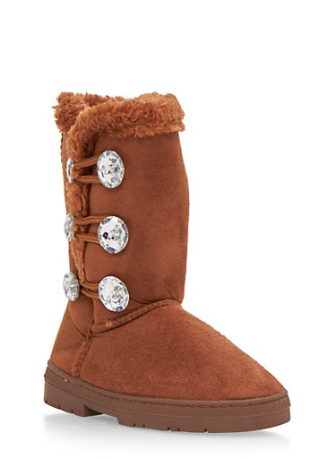 Girls Faux Shearling Lined Boots with Crystal Buttons,COGNAC,large
