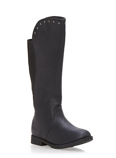 Girls Knee High Boots with Studded Trim,BLACK,large