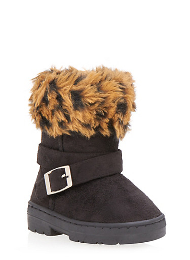 Girls Boots with Leopard Print Faux Fur Cuff,BLACK,large