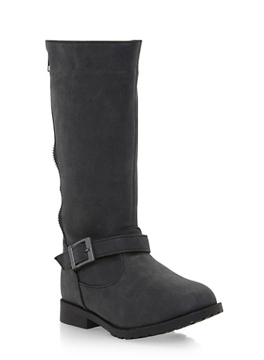 Girls Riding Boots with Split Zipper,BLACK,large