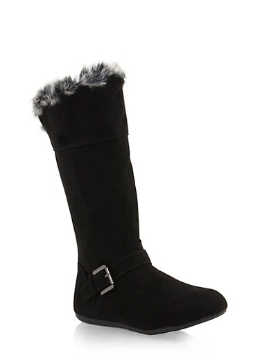 Girls Faux Fur Lined Boots with Wraparound Buckle,BLACK,large