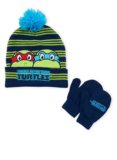 Boys Ninja Turtles Beanie Hat and Mittens Set,MULTI COLOR,large