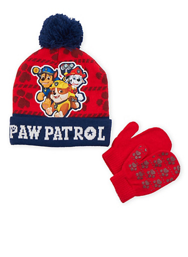 Boys Paw Patrol Beanie Hat and Mittens Set,MULTI COLOR,large