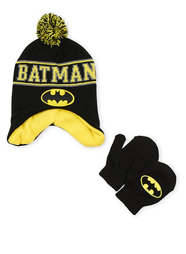 Boys Batman Hat and Mittens Set,MULTI COLOR,large