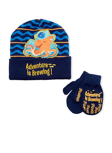 Boys Finding Dory Hat and Mittens Set,MULTI COLOR,large