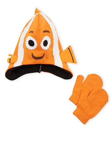Boys Nemo Beanie Hat and Mittens Set,MULTI COLOR,large
