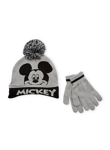 Boys Mickey Mouse Hat and Gloves Set,MULTI COLOR,large