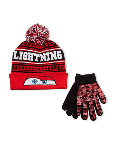 Boys Lightning McQueen Hat and Gloves Set,MULTI COLOR,large