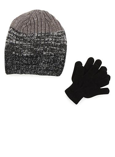 Boys Marled Knit Beanie and Gloves Set,BLACK,large