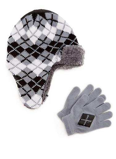 Boys Knit Trapper Hat and Gloves Set,BLACK/WHITE,large