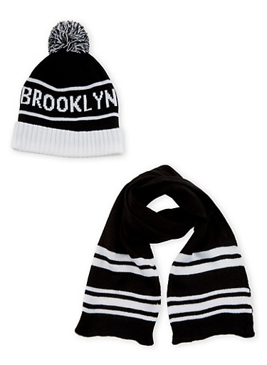 Boys Knit Beanie with Brooklyn Graphic and Matching Scarf Set,BLACK/WHITE S,large