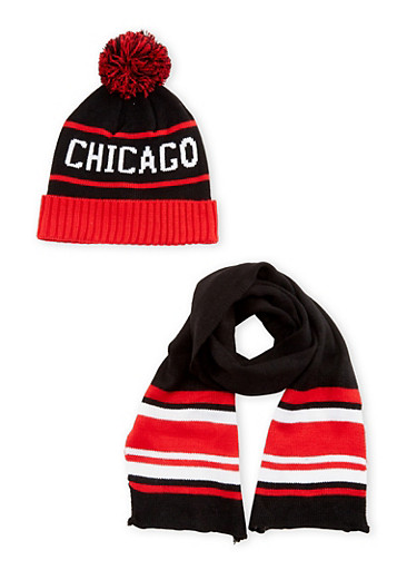 Boys Chicago Beanie Hat with Scarf Set,MULTI COLOR,large