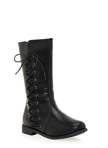Girls Boots with Side Lace Up Accents,BLACK,large