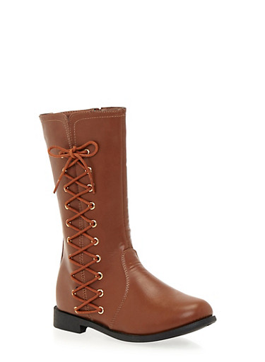 Girls Boots with Side Lace Up Accents,BROWN,large