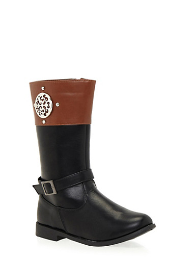 Girls 10-4 Color Block Boots with Metallic Medallion,BLACK,large