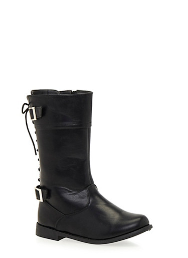 Girls 10-4 Lace Up Biker Boots with Buckle Straps,BLACK,large