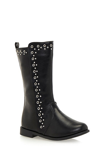 Girls Studded Boots in Faux Leather,BLACK,large