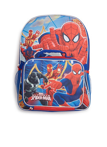 Boys Spiderman Backpack and Lunch Bag Combo,MULTI COLOR,large