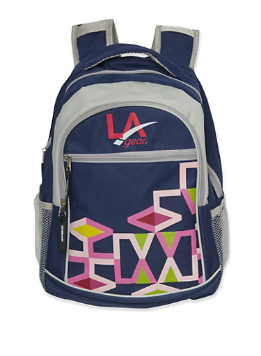 LA Gear Backpack with Geo Print,NAVY,large