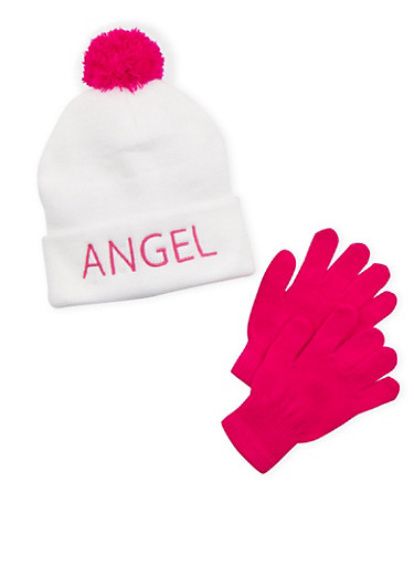 Girls Beanie Hat and Gloves Set with Angel Design,MULTI COLOR,large