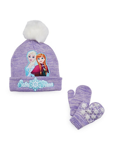 Girls Hat and Mittens Set with Frozen Graphic,MULTI COLOR,large