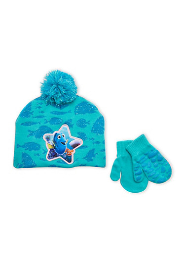 Girls Finding Dory Hat and Mittens Set,MULTI COLOR,large