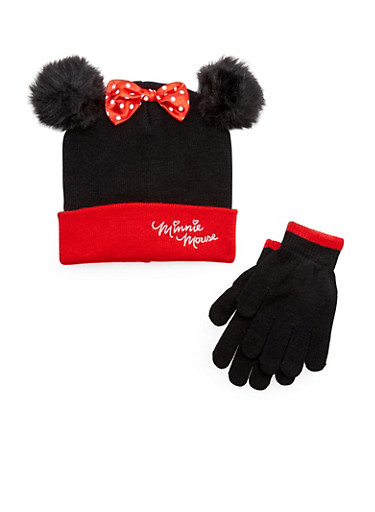 Girls Minnie Mouse Hat and Gloves Set,MULTI COLOR,large
