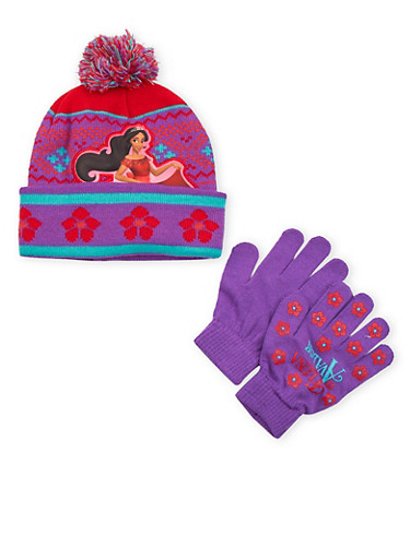 Girls Elena of Avalor Beanie Hat and Gloves Set,MULTI COLOR,large
