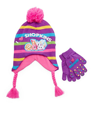 Girls Shopkins Hat and Gloves Set,MULTI COLOR,large