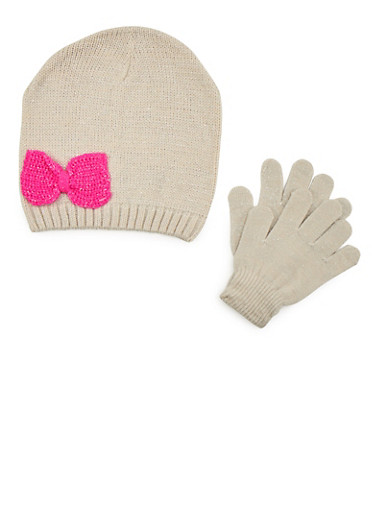 Girls Bow Beanie Hat and Gloves Set,SAND,large