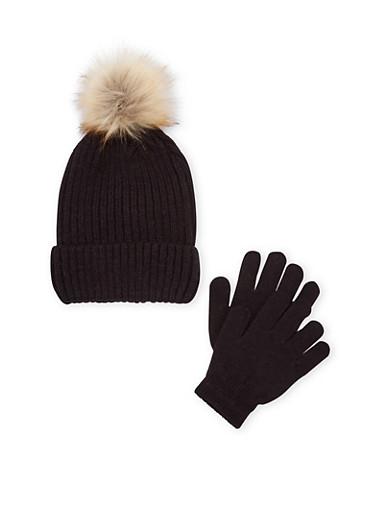Girls Pom Pom Beanie Hat and Gloves Set,BLACK,large