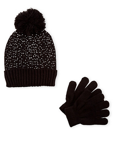 Girls Metallic Foil Beanie Hat with Gloves Set,BLACK,large
