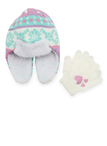 Girls Trapper Hat and Gloves with Snowflake Print,GREEN,large