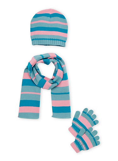 Girls Striped Scarf Hat and Gloves Set,TEAL,large