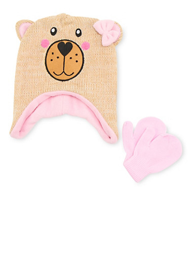 Girls Hat and Mittens Set with Animal Design,OATMEAL,large
