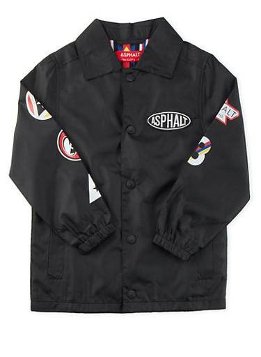 Boys 4-7 Asphalt Varsity Coat with Varied Logo Graphics,BLACK,large