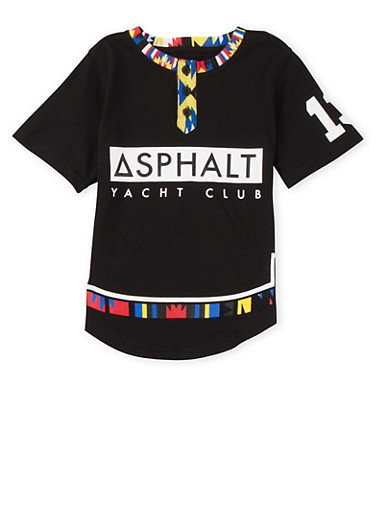 Boys 4-7 Polo Shirt with Asphalt Yacht Club Graphic,BLACK,large