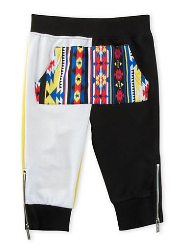 Boys 4-7 Color Block Joggers with Aztec Paneling,BLACK,large